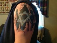 Adorable star of david tattoo on shoulder